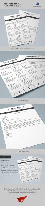 2 Pages Minimal Resume CV Set (Custom)