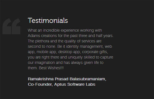 ADAMS CREATION Testimonials Page Design SEMANTRICKS