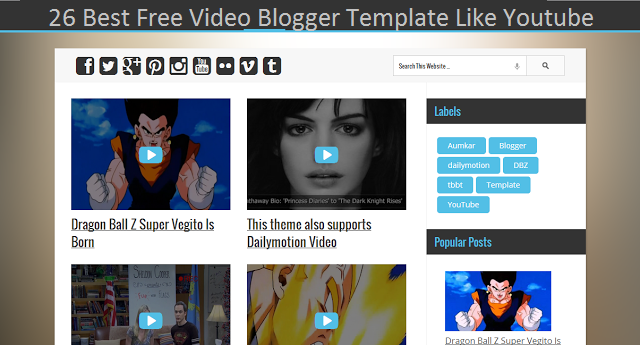 Best Free Video Blogger Template Like Youtube