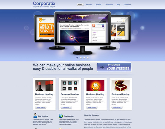 Convert Business PSD template to HTML CSS tutorial
