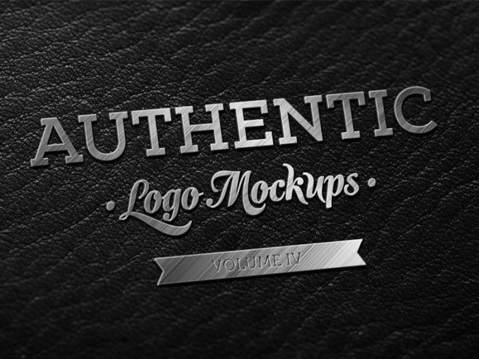 Dark Leather Metallic Finish Logo Mockup