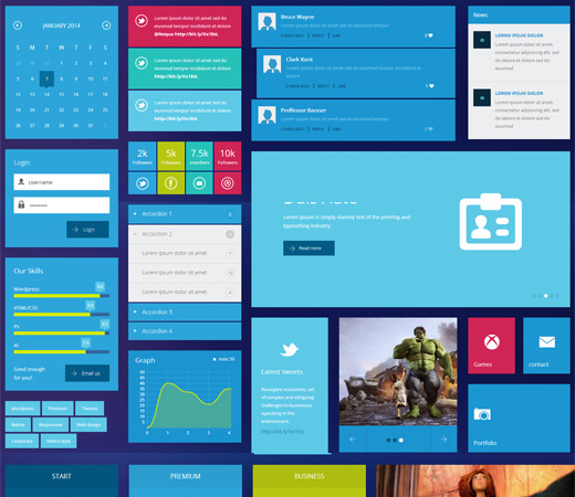 Metro UIkit web elements Flat Responsive Template