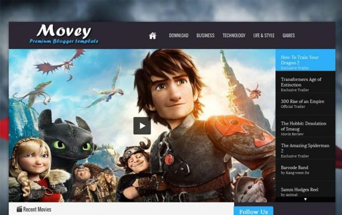Movey Responsive Entertainment Blogger template (Small)