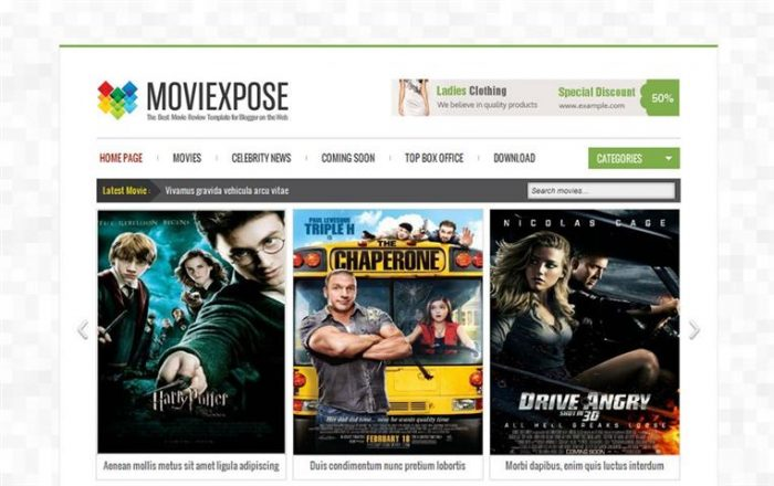 Moviexpose Responsive Blogger Template (Small)