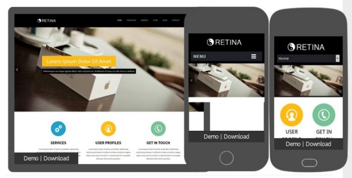 Retina Corporate Flat Responsive web template