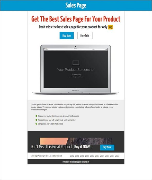 Sales Page Seo Blogger Template