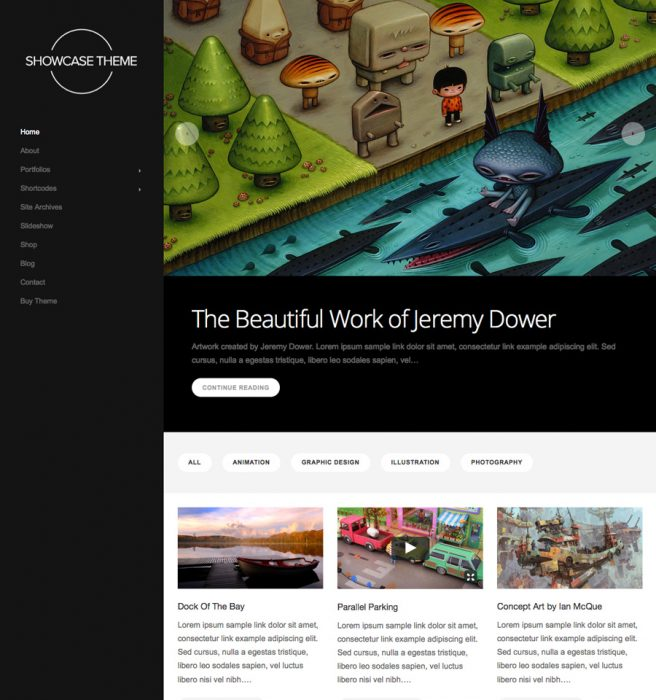 Showcase Minimal WordPress Portfolio Theme
