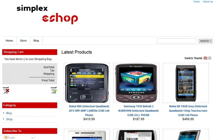 Simplex eShop store Online Shopping Store Blogger Template