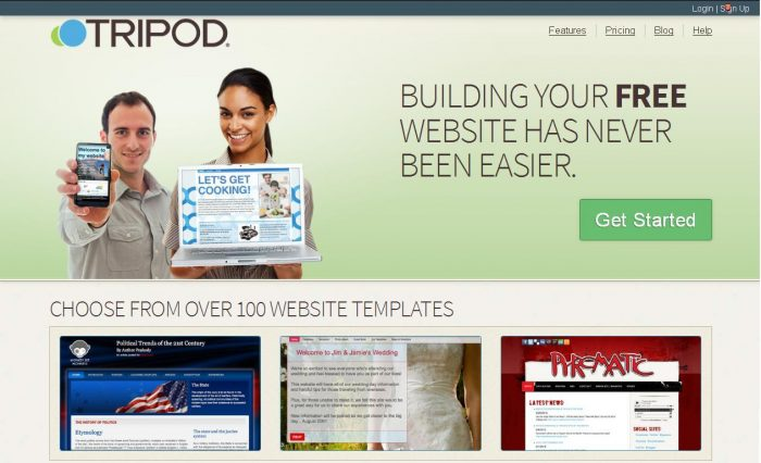 Tripod Online Free website builder