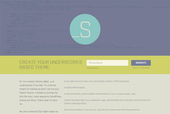 Underscores Free Blank WordPress Themes