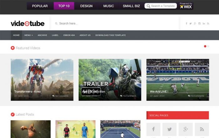 VideoTube Responsive Video Blogger Template