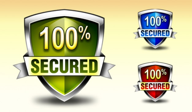 download security shield badge and icons in colors Free Psd