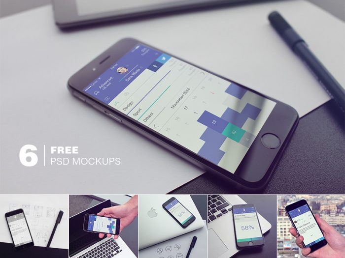 6 iPhone6 PSD mockups
