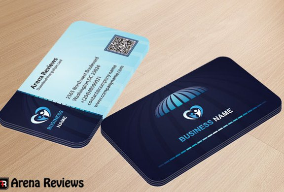 Blue Corporate Business Card Template With QR Code