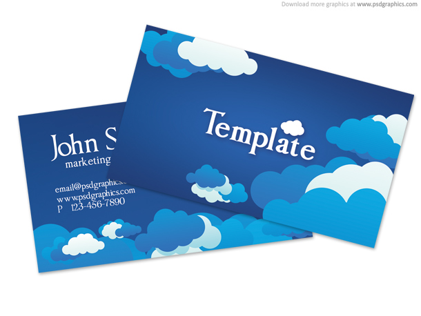 Blue cloudy sky business card template