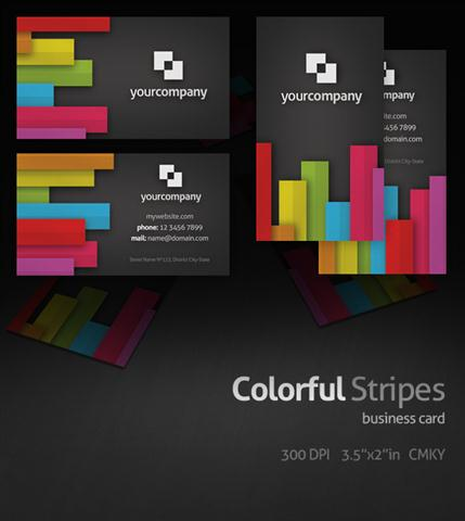 Colorful Stripes Business Card (Small)
