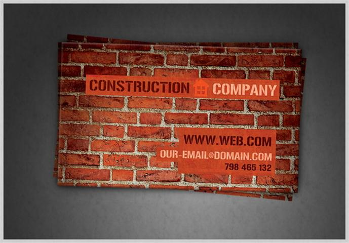 Construction Company Business Card PSD (Small)
