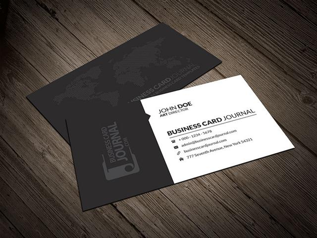 Corporate Business Card Template With World Map (Small)