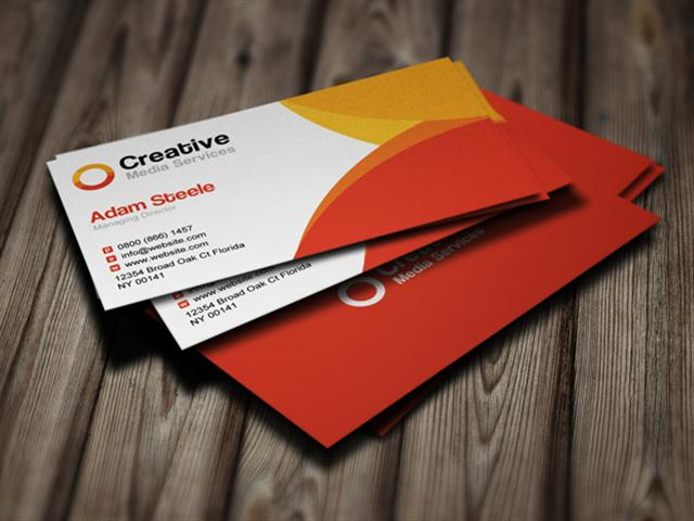 Free PSD Creative Media Business Cards in 2 Colors (Small)