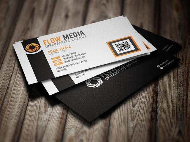 Free PSD  Flow Business Cards in 3 Colors (Small)