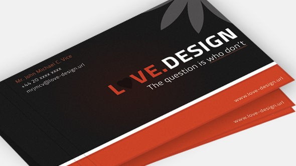 Love Design Business Card PSD