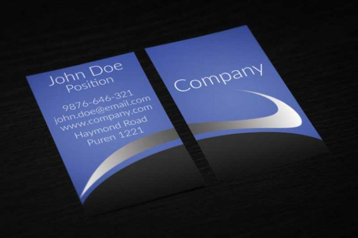 Modern Vertical Blue Business Card Design