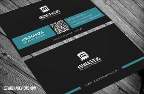Professional Minimal Blue & Black Free Business Card Template