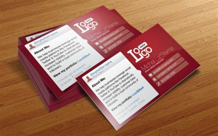 Social Media Business Card Template (Small)