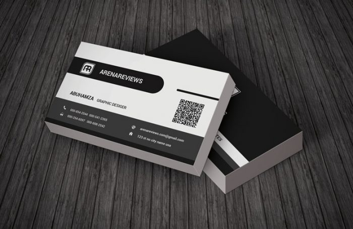 130 best free psd business card templates techclient stylish corporate black white business card template wajeb Gallery