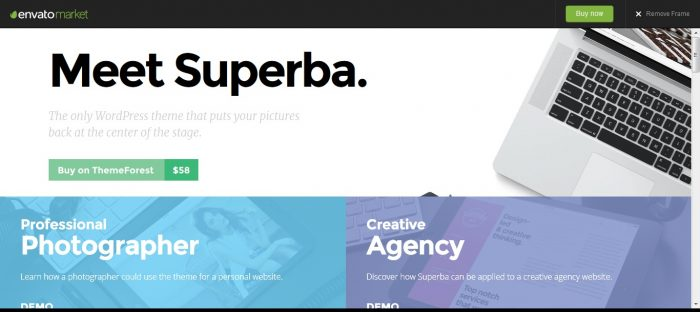Superba Media-centric Photography WordPress Theme