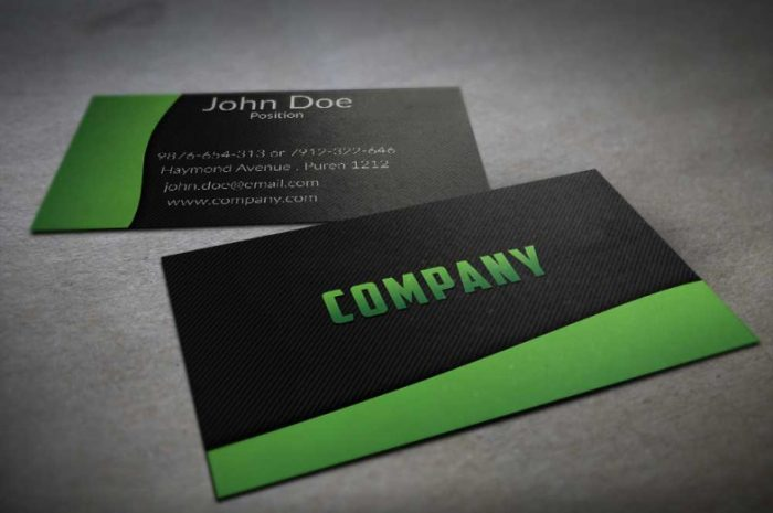 Textured Black and Green Business Card Template