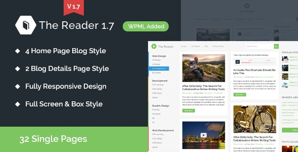 The Reader WordPress Minimal Blog Template