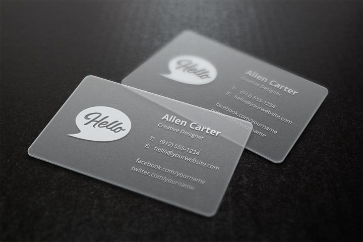 Translucent Business Card Template and MockUp (Small)