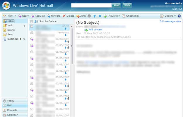Windows Live Hotmail PUSH mail