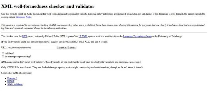 XML well checker and validator (Custom)