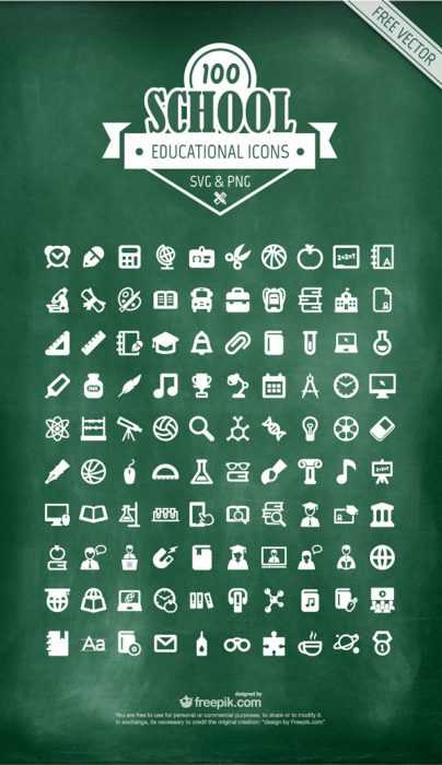 100 Educational Icons (SVG – PNG)