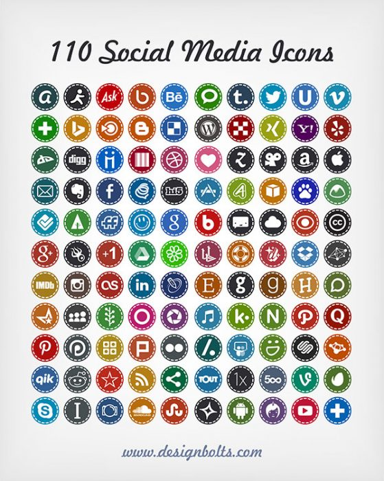 110 Free Hand Stitch Social Media Icons 2014