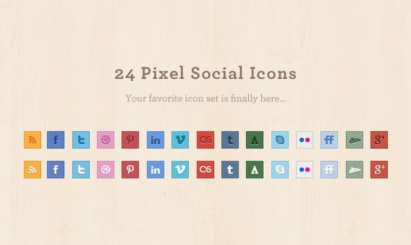 24 Pixel Social Media Icons Set