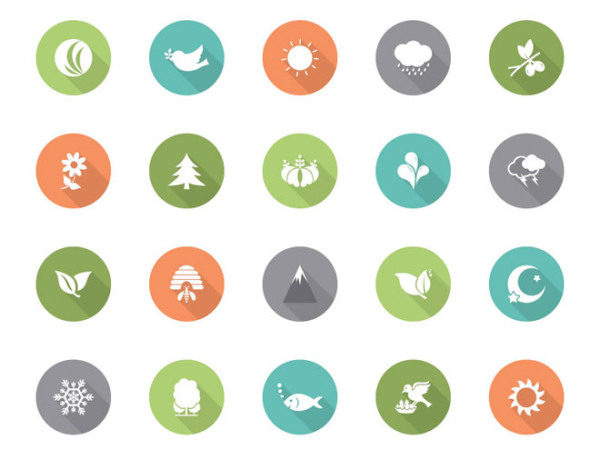35 Free Flat Nature Vector Icons