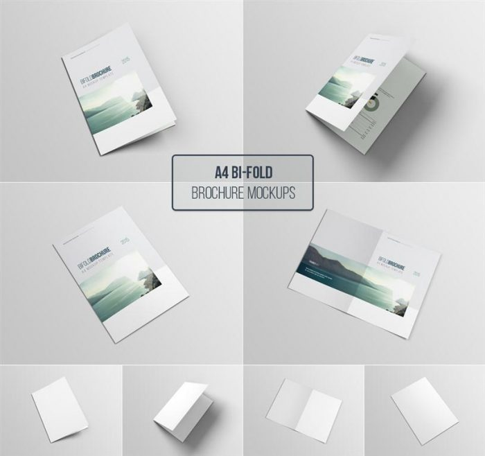 A4 Bifold Brochure Free PSD Mockup Template (Medium)