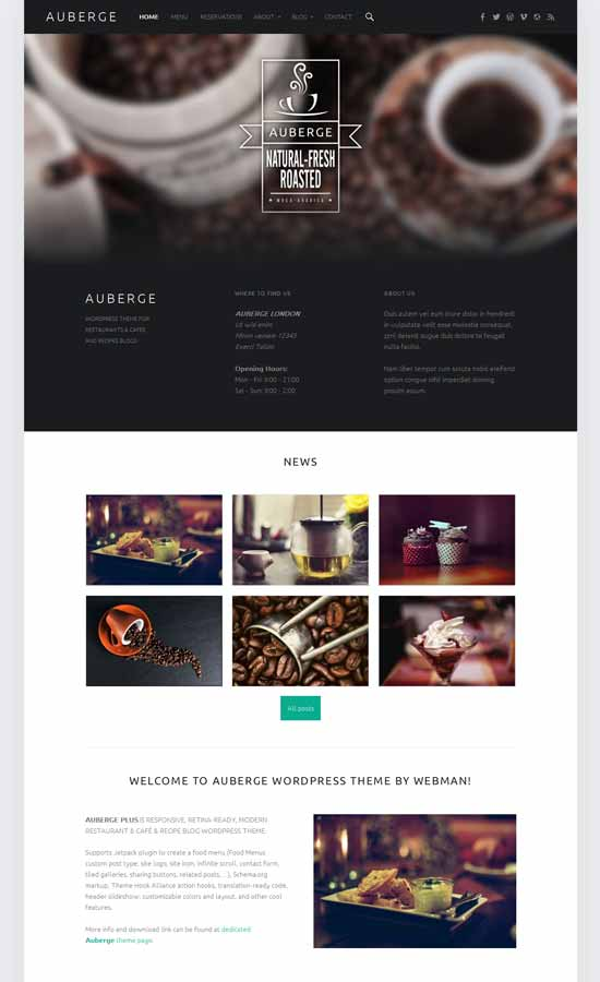 Auberge Free restaurant WordPress theme