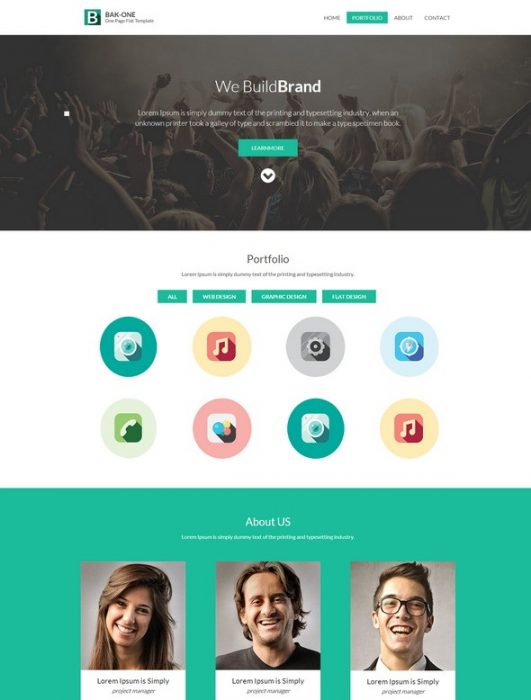 Bak One singlepage Flat Corporate Responsive website template