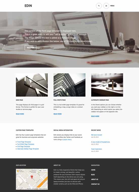 Edin - modern responsive business Free WordPress Theme