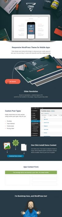 Elina Mobile App and Blog WordPress Theme