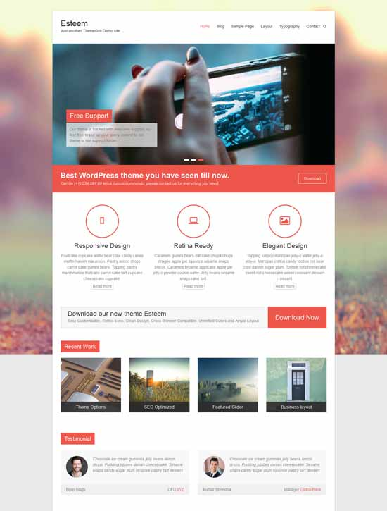 Esteem multipurpose responsive WordPress theme
