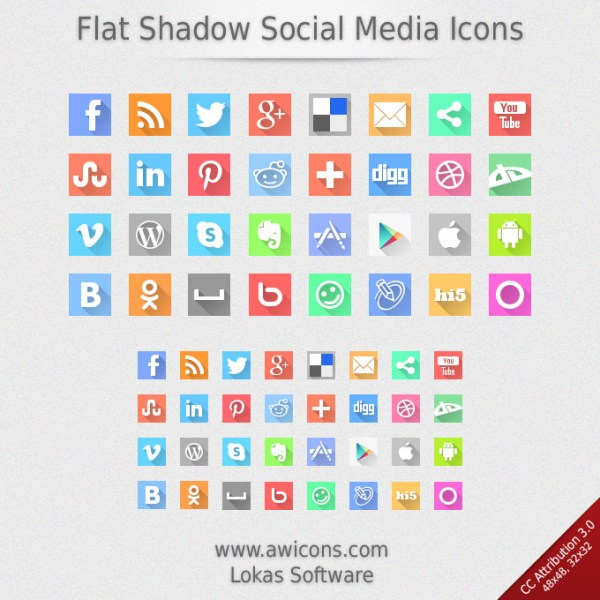 Flat Shadow Social Media Icons