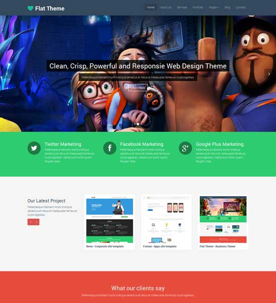Flat Theme – Free Responsive Multipurpose Site Template