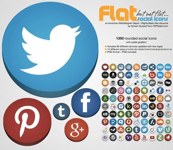 Flat but not flat rounded social icons
