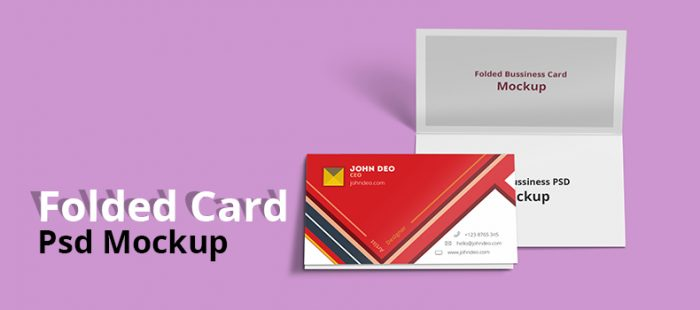 Folded Business Card Psd Mockup