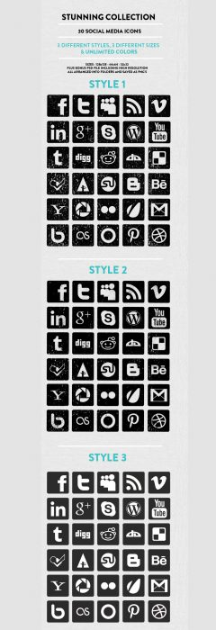 Free Black and White Social Media Icons